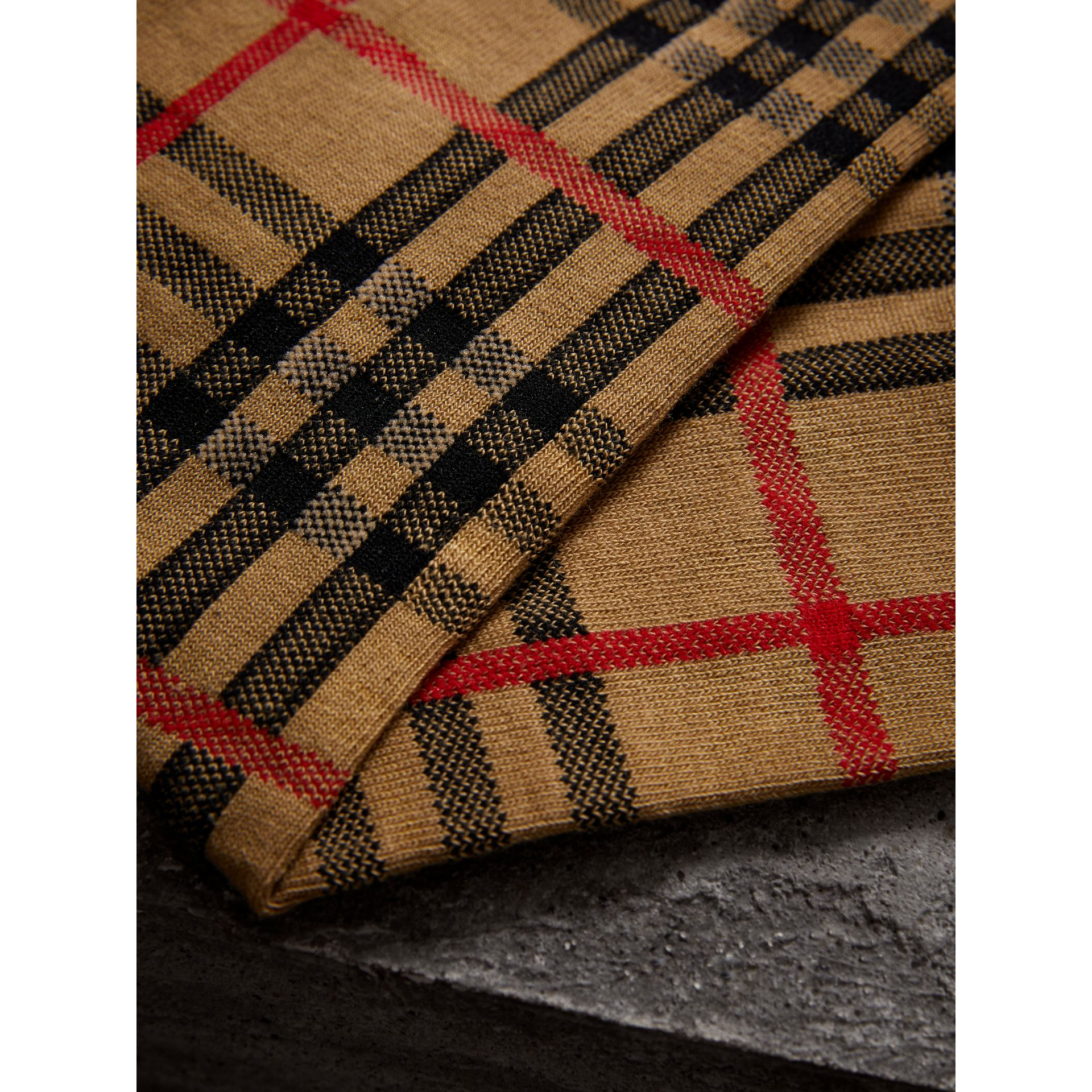 Vintage Check Cotton Blend Socks in Antique Yellow | Burberry United Kingdom - gallery image 1