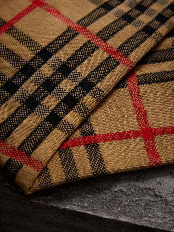 Vintage Check Cotton Blend Socks in Antique Yellow | Burberry United States - cell image 1