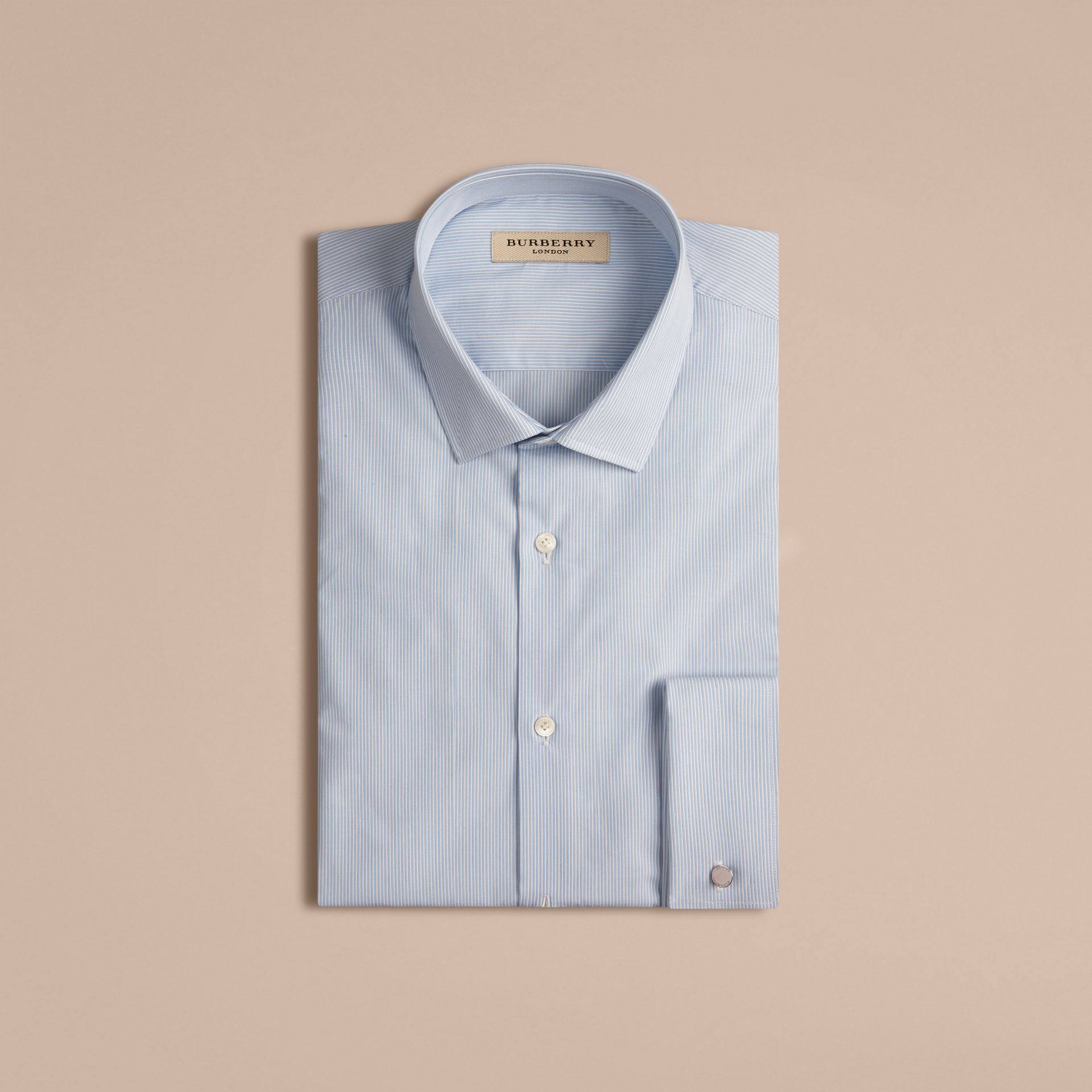 Slim Fit Double-cuff Striped Cotton Poplin Shirt in City Blue - Men | Burberry - gallery image 4