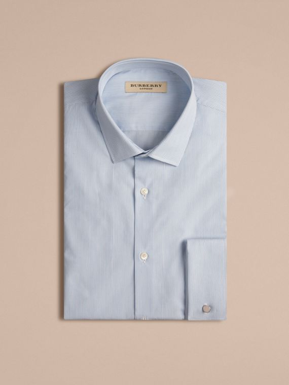 Slim Fit Double-cuff Striped Cotton Poplin Shirt in City Blue - cell image 3