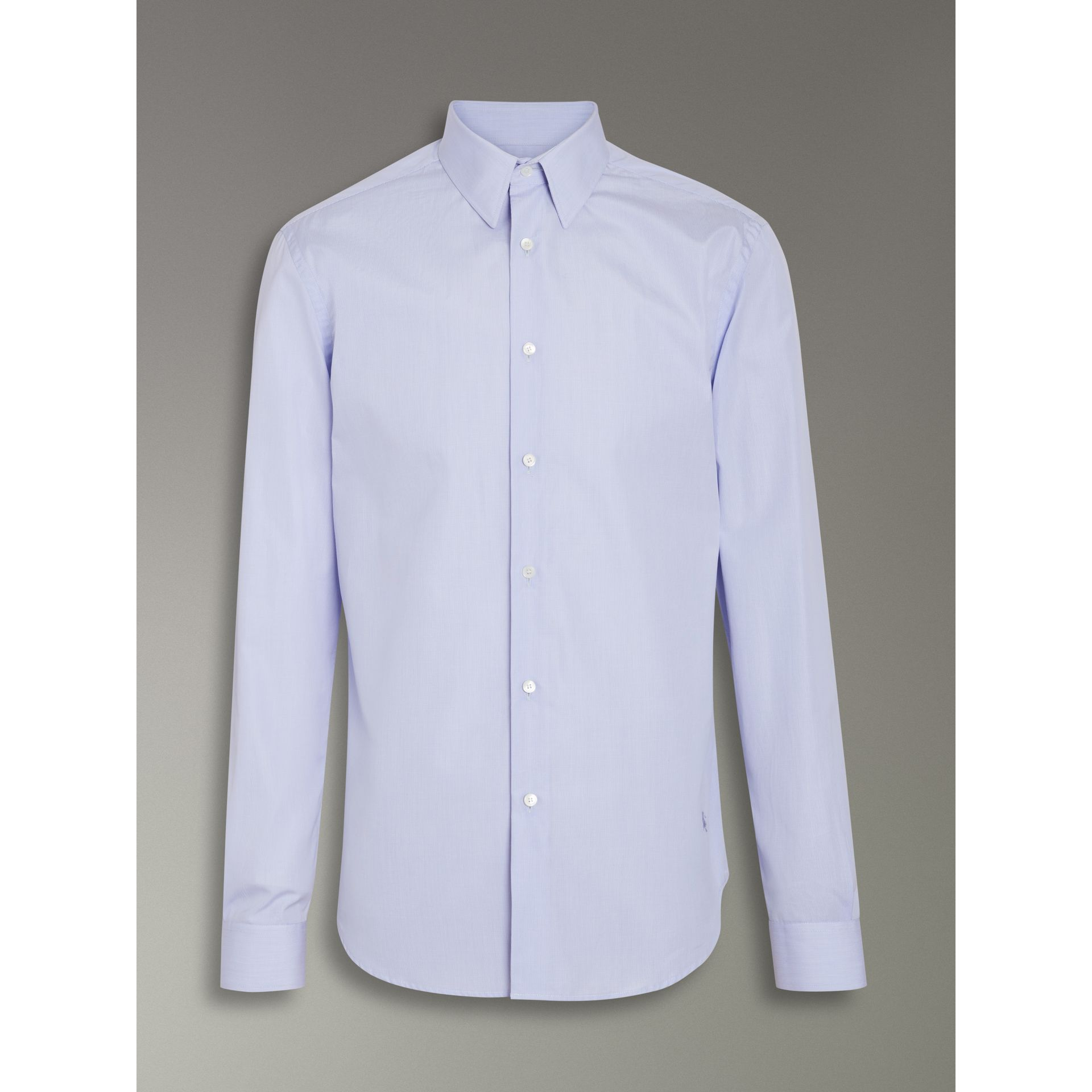 Slim Fit Cotton Poplin Shirt in City Blue - Men | Burberry United Kingdom - gallery image 3
