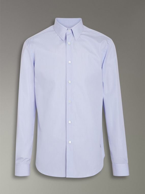 Slim Fit Cotton Poplin Shirt in City Blue - Men | Burberry United Kingdom - cell image 3