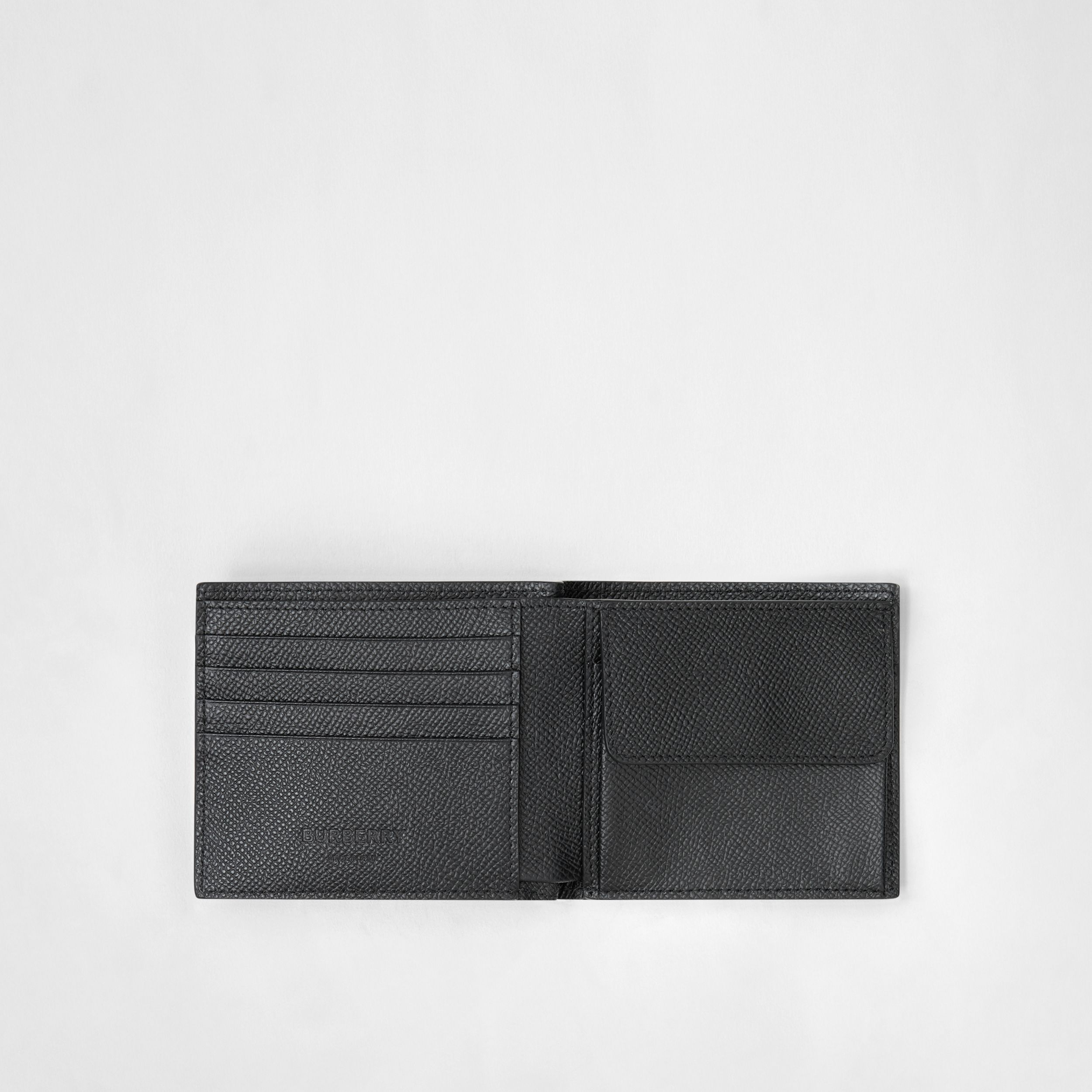 Grainy Leather International Bifold Coin Wallet in Black - Men | Burberry Hong Kong S.A.R. - 3