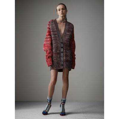 Cashmere Wool Blend Mouliné Oversized Cardigan in Red/black ...
