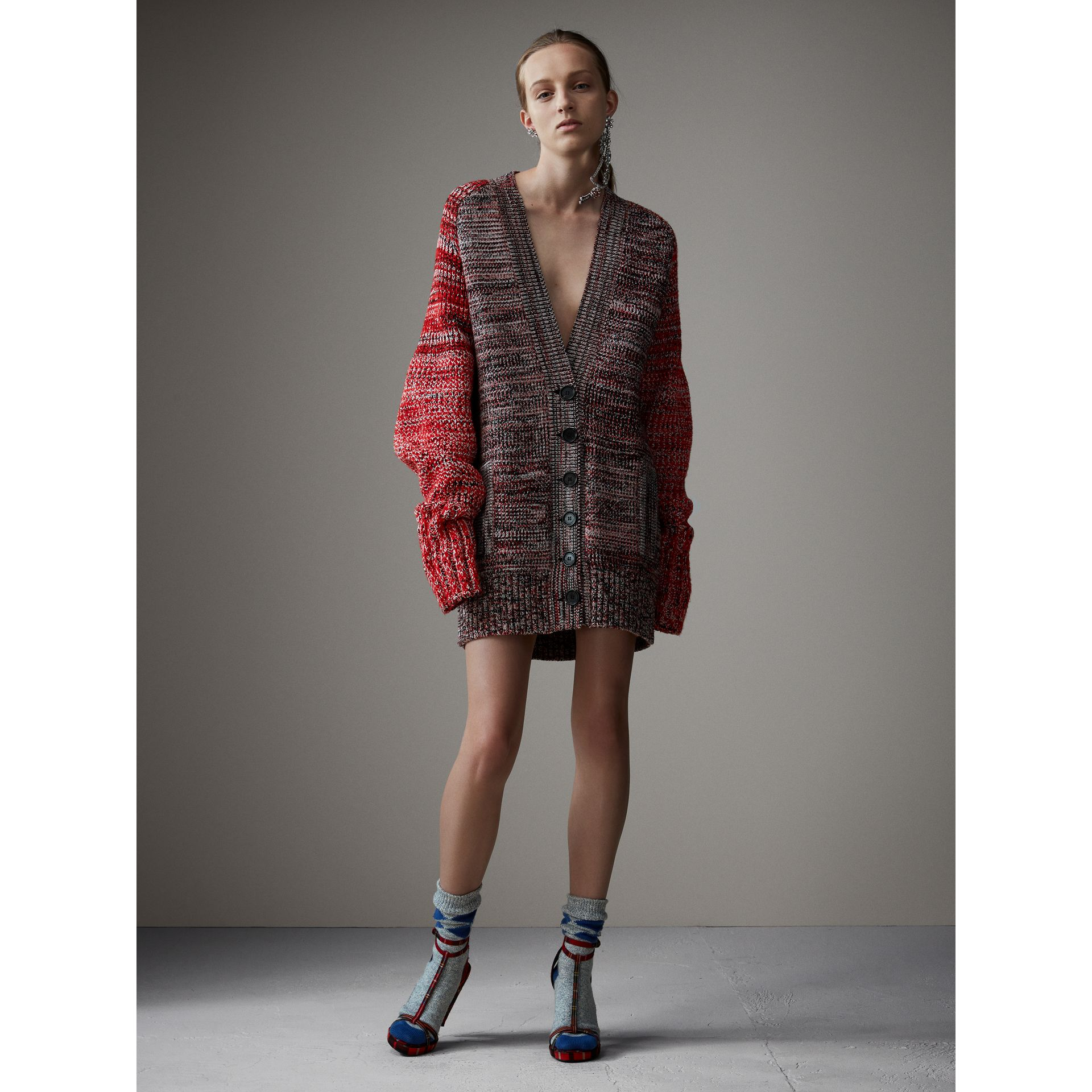 Cashmere Wool Blend Mouliné Oversized Cardigan in Red/black - Women | Burberry Australia - gallery image 0