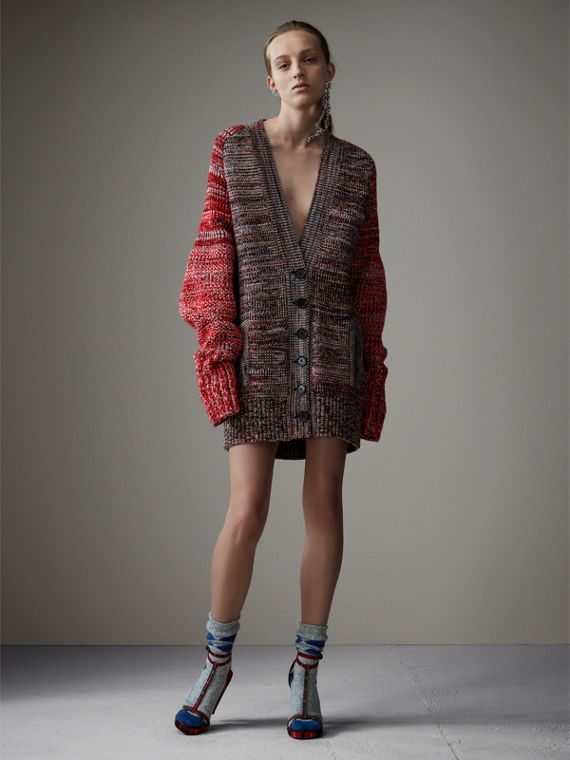 Cashmere Wool Blend Mouliné Oversized Cardigan in Red/black