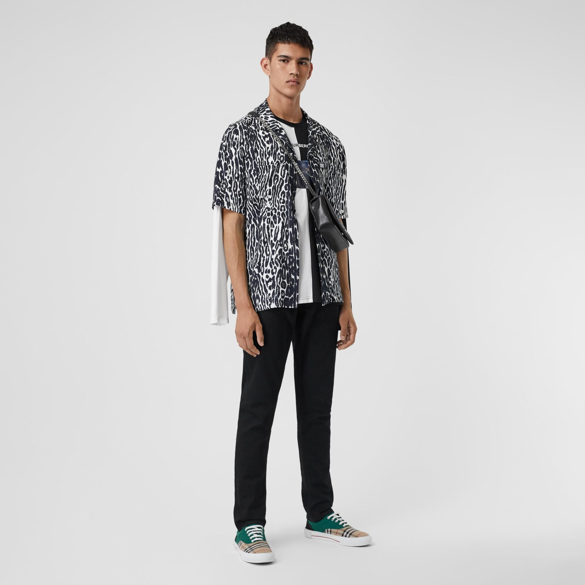 Slim Fit Japanese Denim Jeans in Black - Men | Burberry - gallery image 0