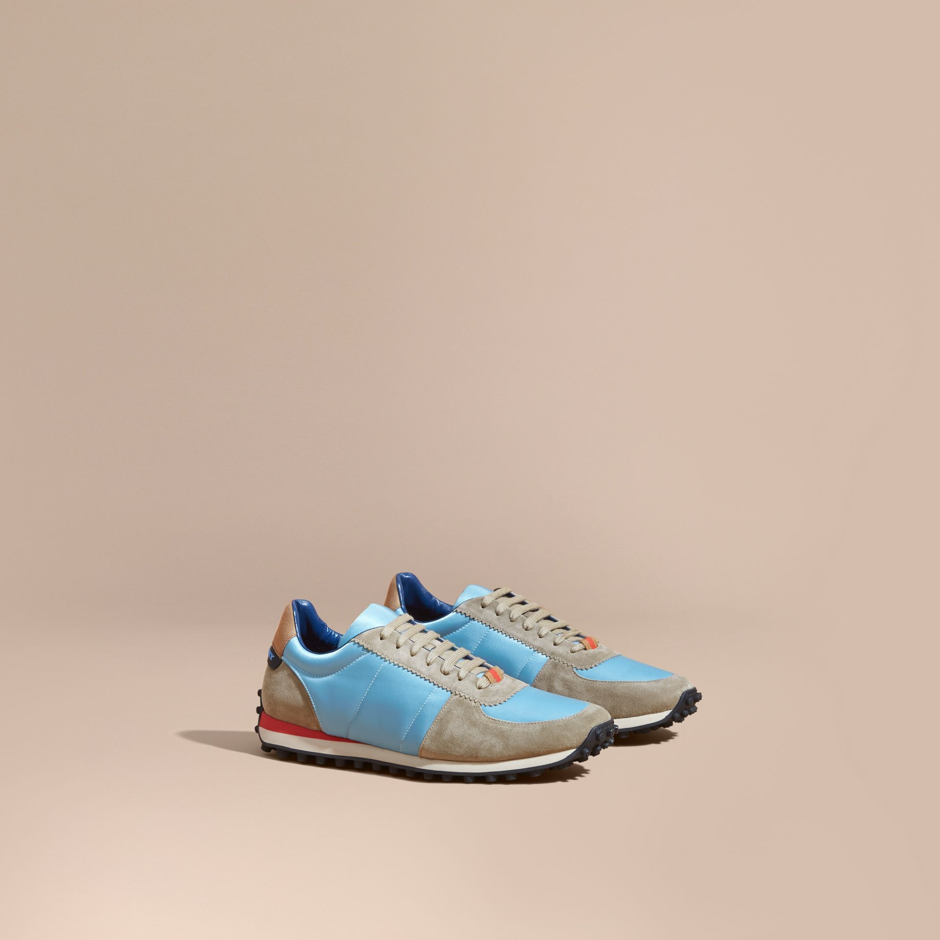 House Check Trim Suede and Technical Satin Sneakers Light Taupe Brown/powder Blue - gallery image 1