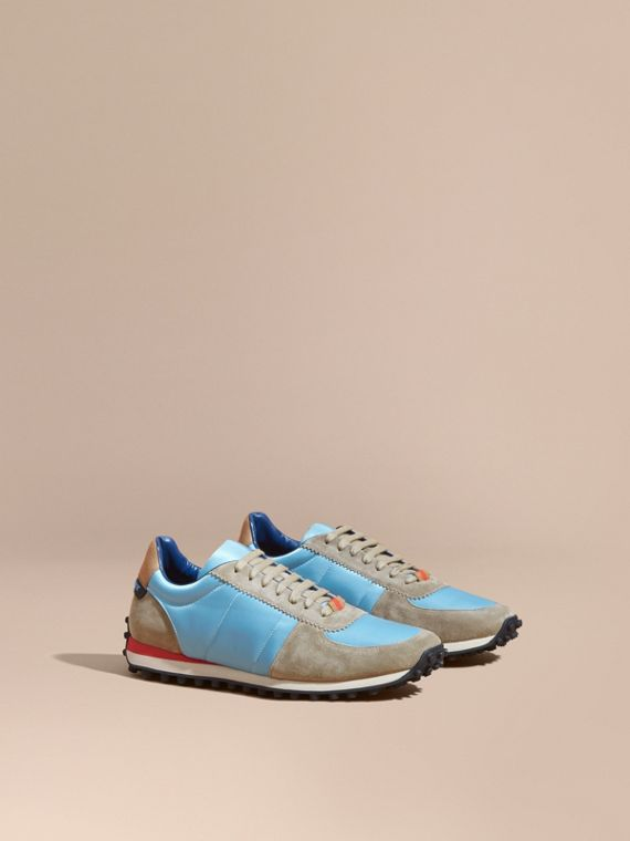 House Check Trim Suede and Technical Satin Sneakers Light Taupe Brown/powder Blue