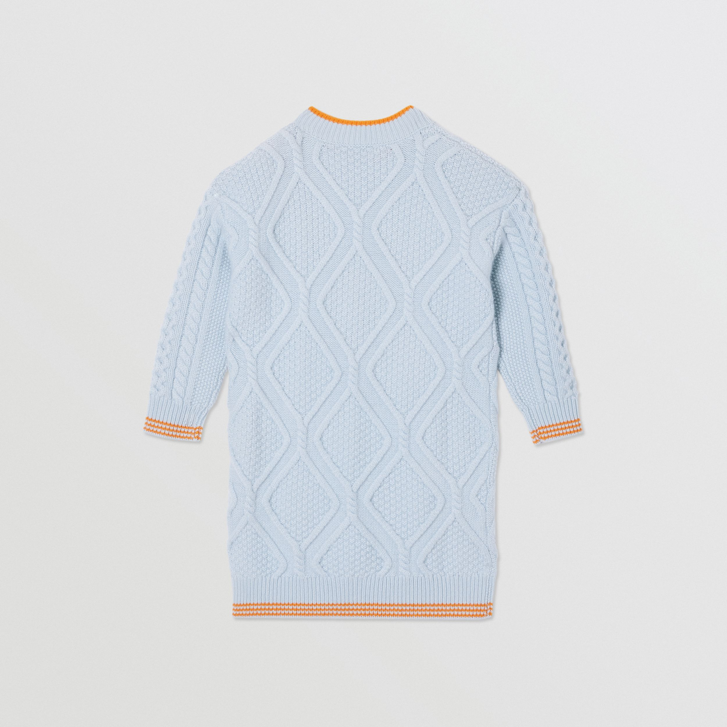 Unicorn Cable Knit Wool Cashmere Sweater Dress in Light Blue | Burberry - 4