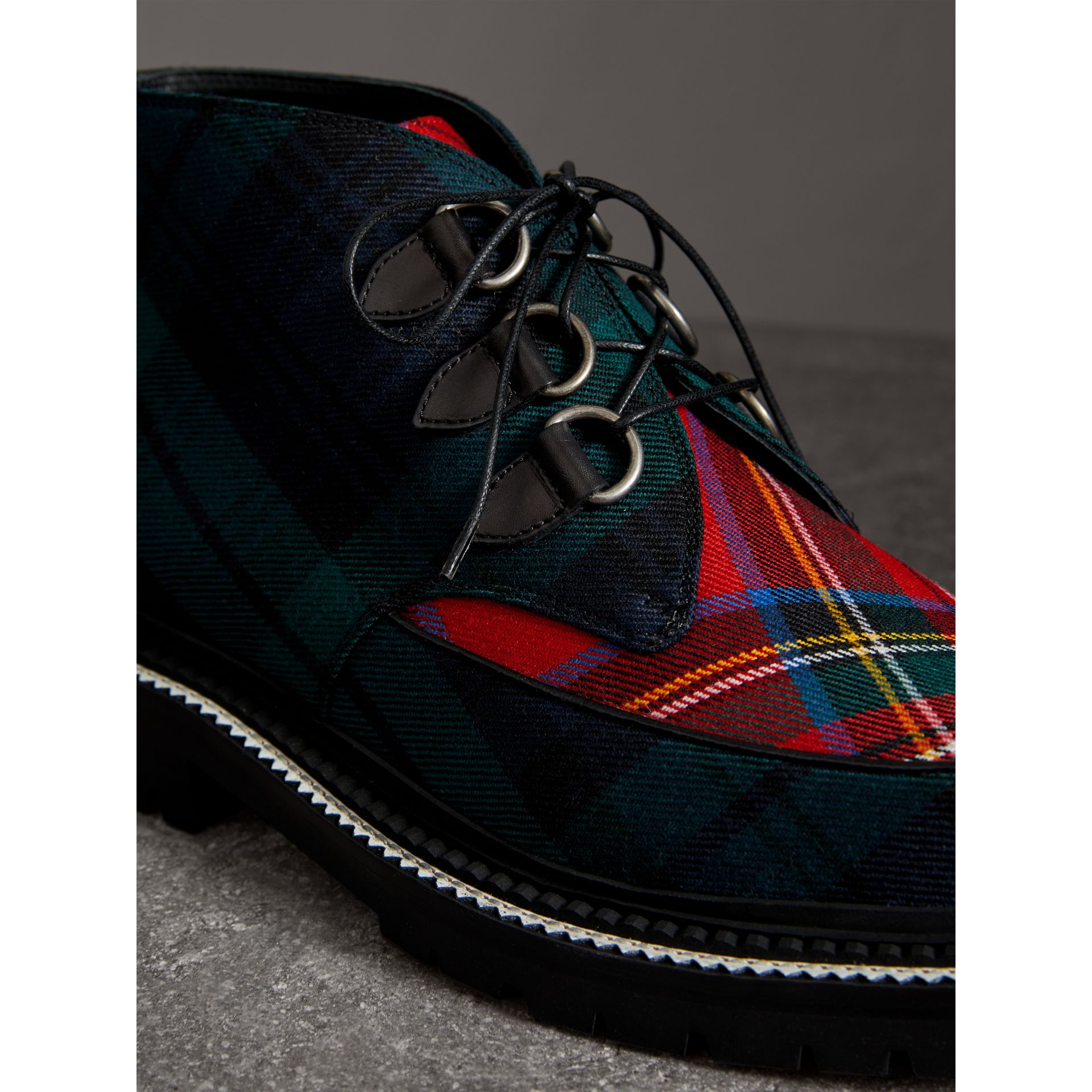 Tartan Wool and Leather Ankle Boots in Black - Men | Burberry United States - gallery image 1