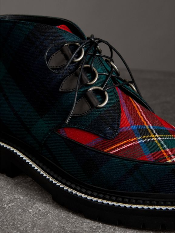 Tartan Wool and Leather Ankle Boots in Black - Men | Burberry United Kingdom - cell image 1