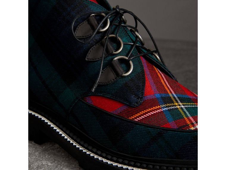 Tartan Wool and Leather Ankle Boots in Black - Men | Burberry - cell image 1