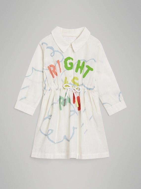 Vestido estilo camisa de linho e algodão com estampa climática (Branco)