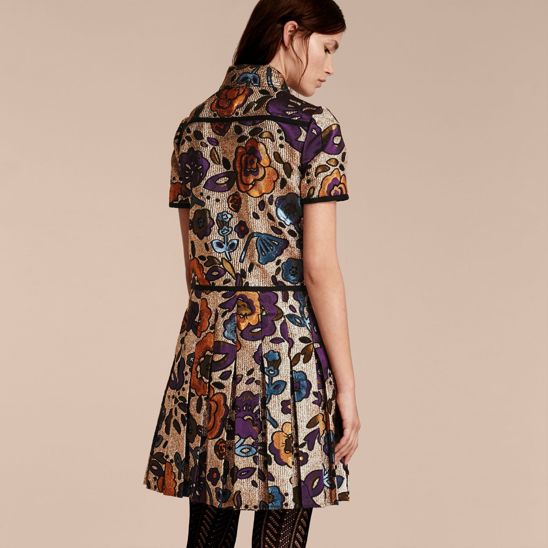 Copper rose Metallic Floral Jacquard Shirt Dress - gallery image 3