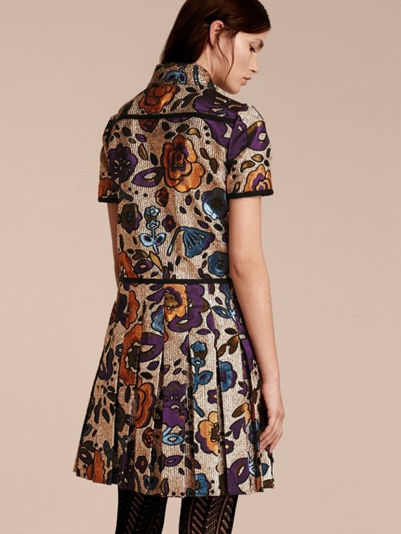Copper rose Metallic Floral Jacquard Shirt Dress - cell image 2