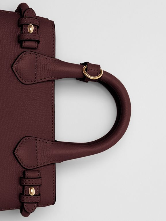 The Small Banner in Leather and House Check in Mahogany Red - Women | Burberry - cell image 1