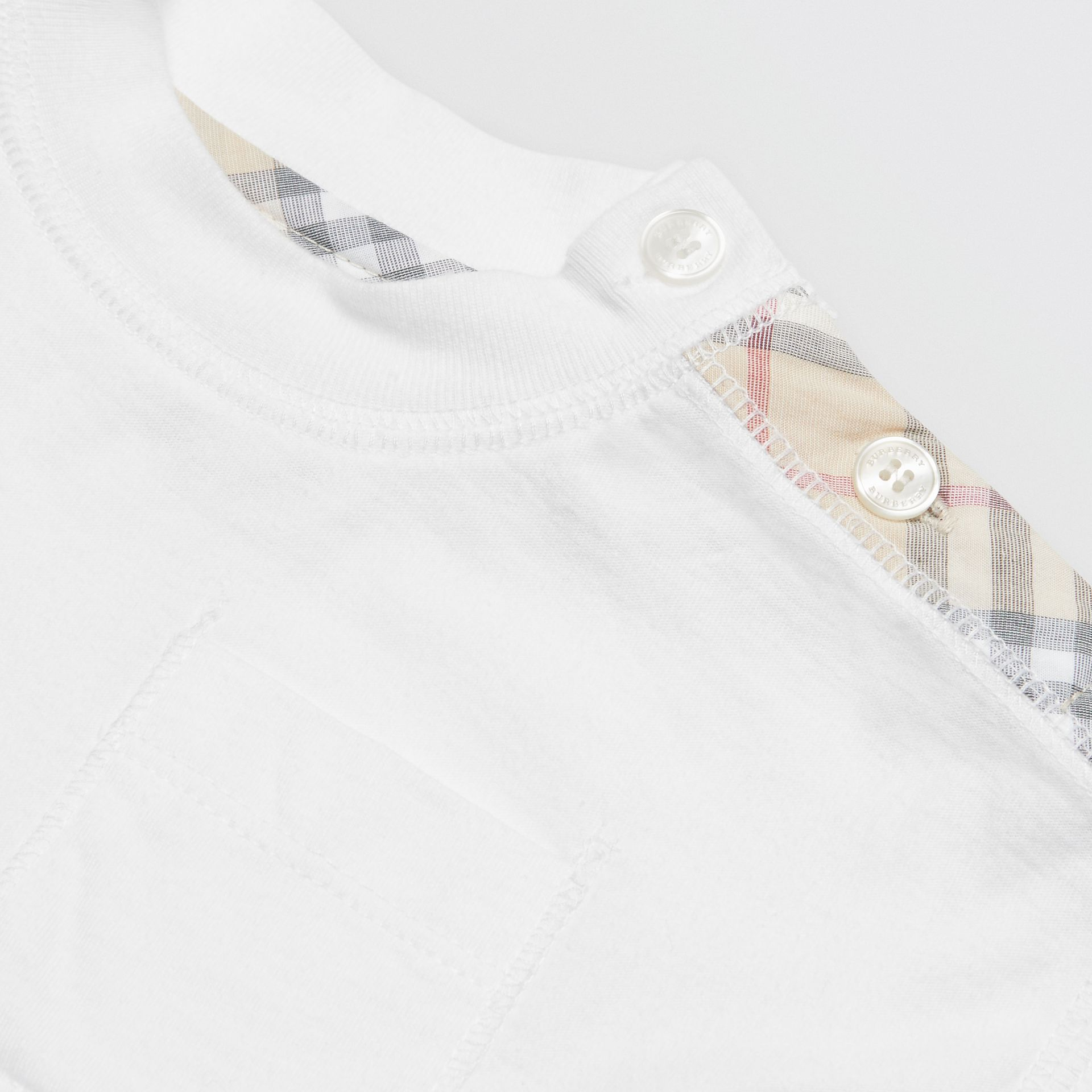 Check Detail Cotton Three-piece Baby Gift Set in White - Children | Burberry - gallery image 1