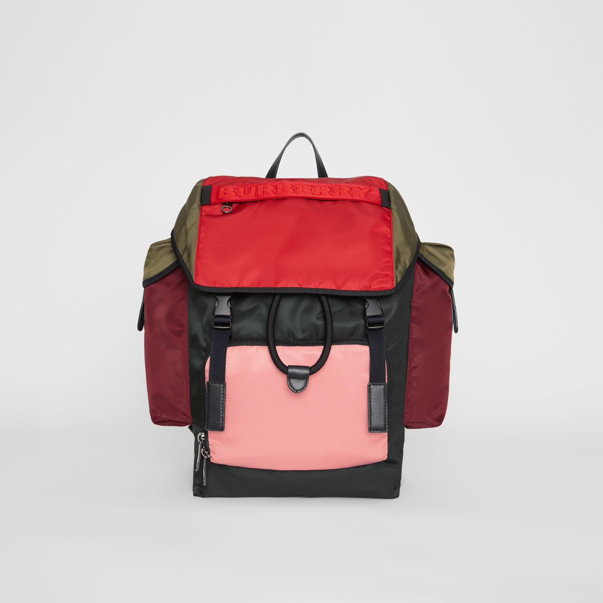 Medium Leather Trim Colour Block Nylon Backpack in Multicolour | Burberry - gallery image 0