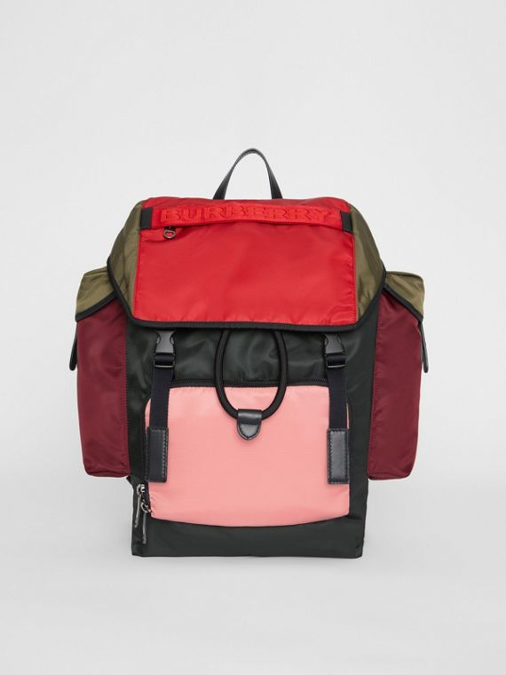 Medium Leather Trim Colour Block Nylon Backpack in Multicolour