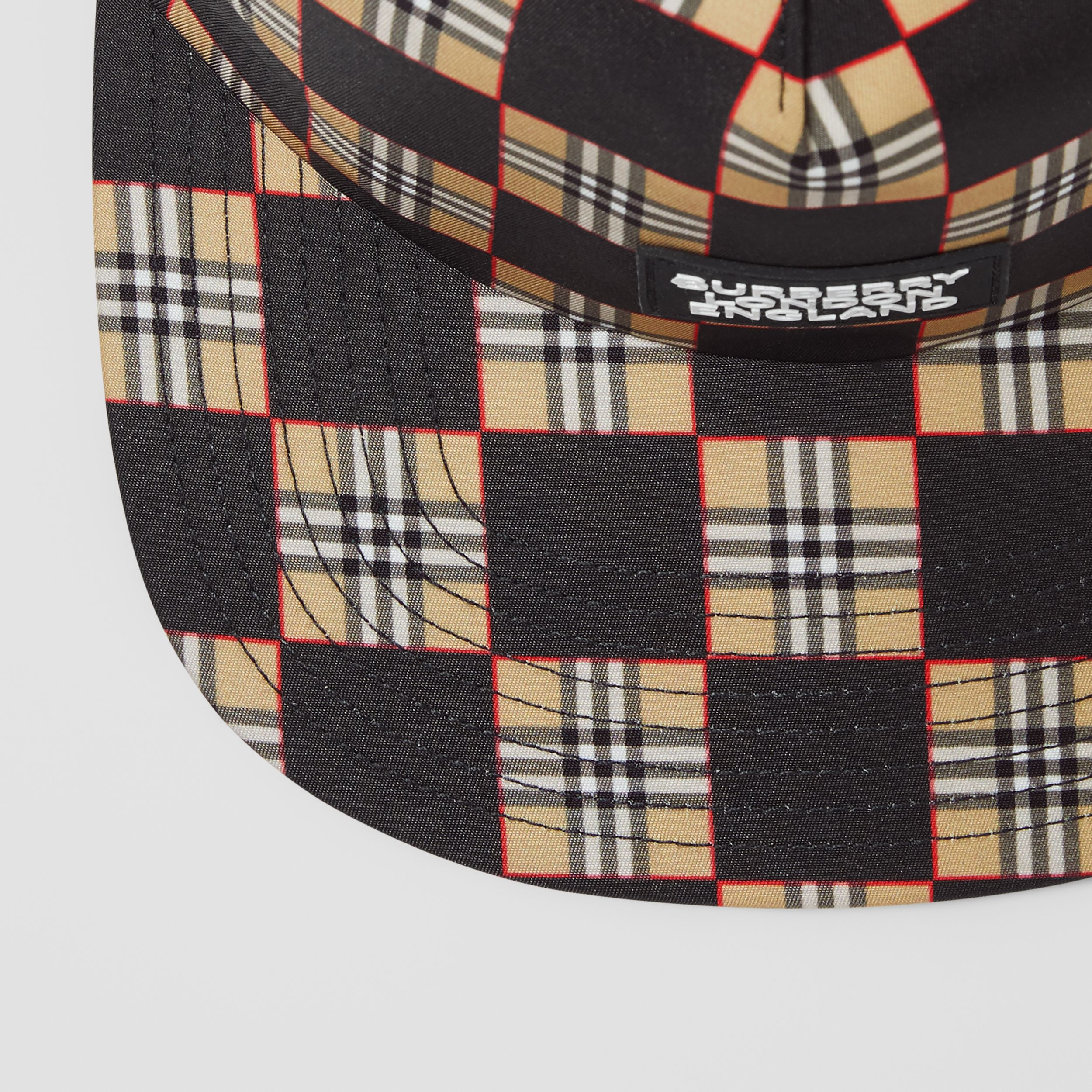 Chequer ECONYL® and Mesh Baseball Cap in Black/archive Beige | Burberry - 2