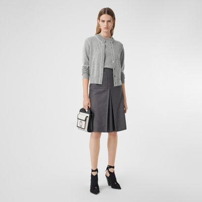 Silk Trim Monogram Motif Cashmere Cardigan in Grey Melange Women | Burberry