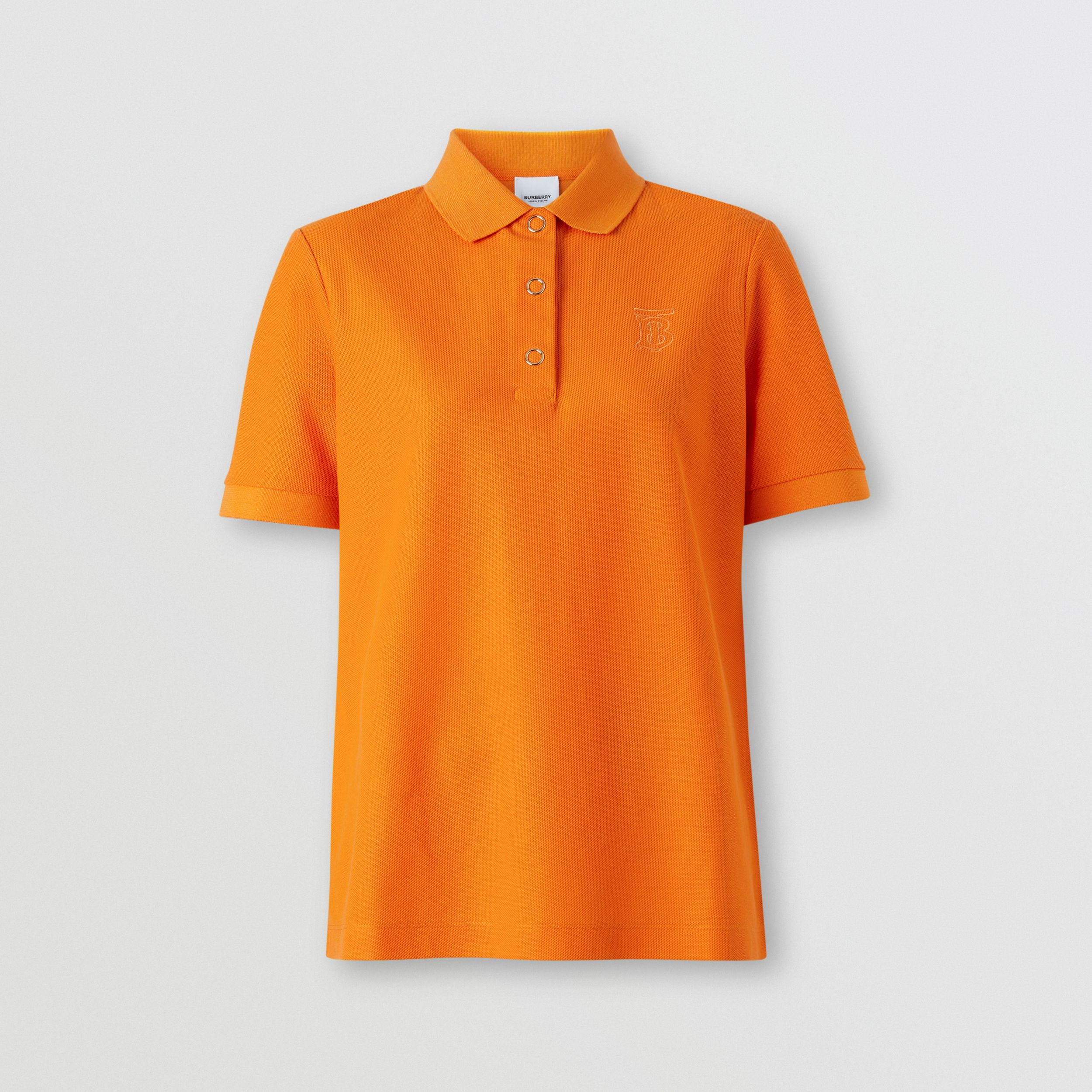 Monogram Motif Cotton Piqué Polo Shirt in Bright Orange - Women | Burberry - 4