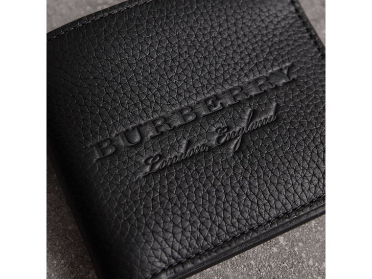 Embossed Leather Bifold Wallet in Black - Men | Burberry United States - cell image 1