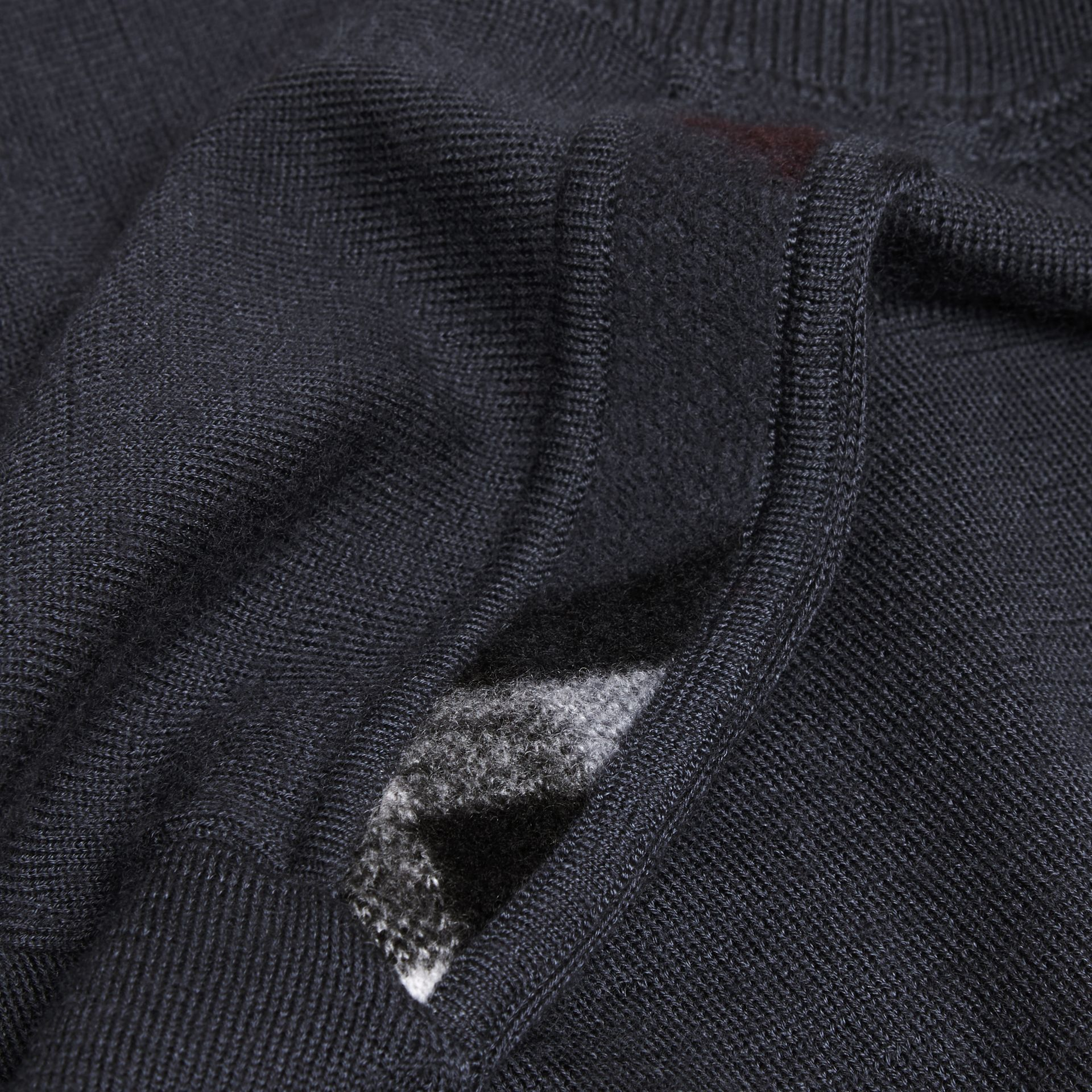 Dark grey melange Lightweight Crew Neck Cashmere Sweater with Check Trim Dark Grey Melange - gallery image 2