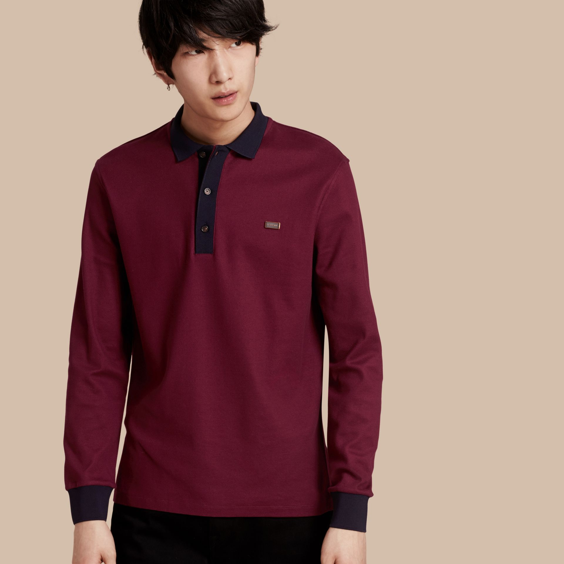 Boysenberry/navy Long-sleeved Cotton Piqué Polo Shirt Boysenberry/navy - gallery image 1