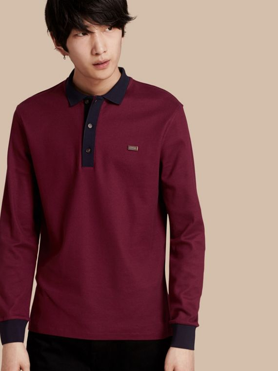 Long-sleeved Cotton Piqué Polo Shirt Boysenberry/navy