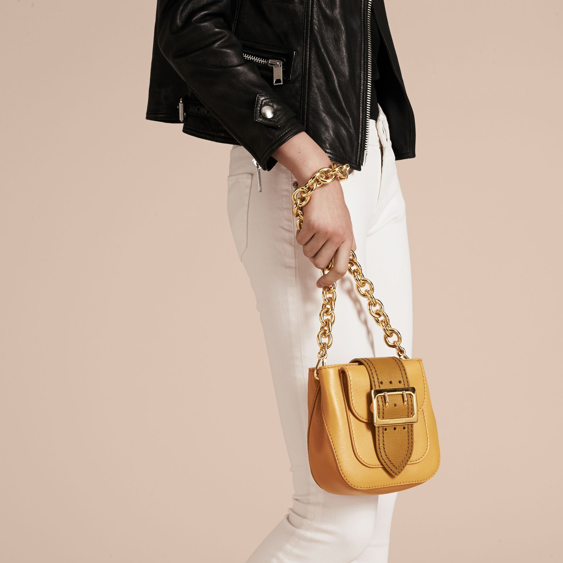 Ochre yellow The Small Square Buckle Bag in Leather - gallery image 4