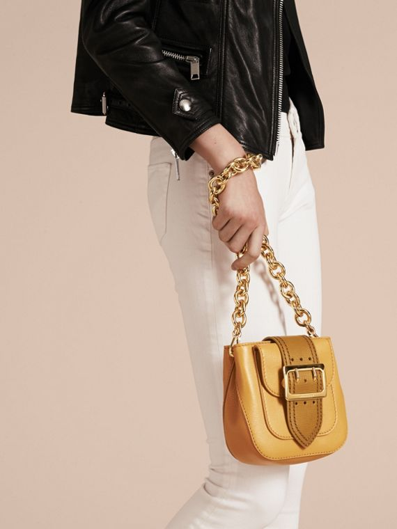 Ochre yellow The Small Square Buckle Bag in Leather - cell image 3