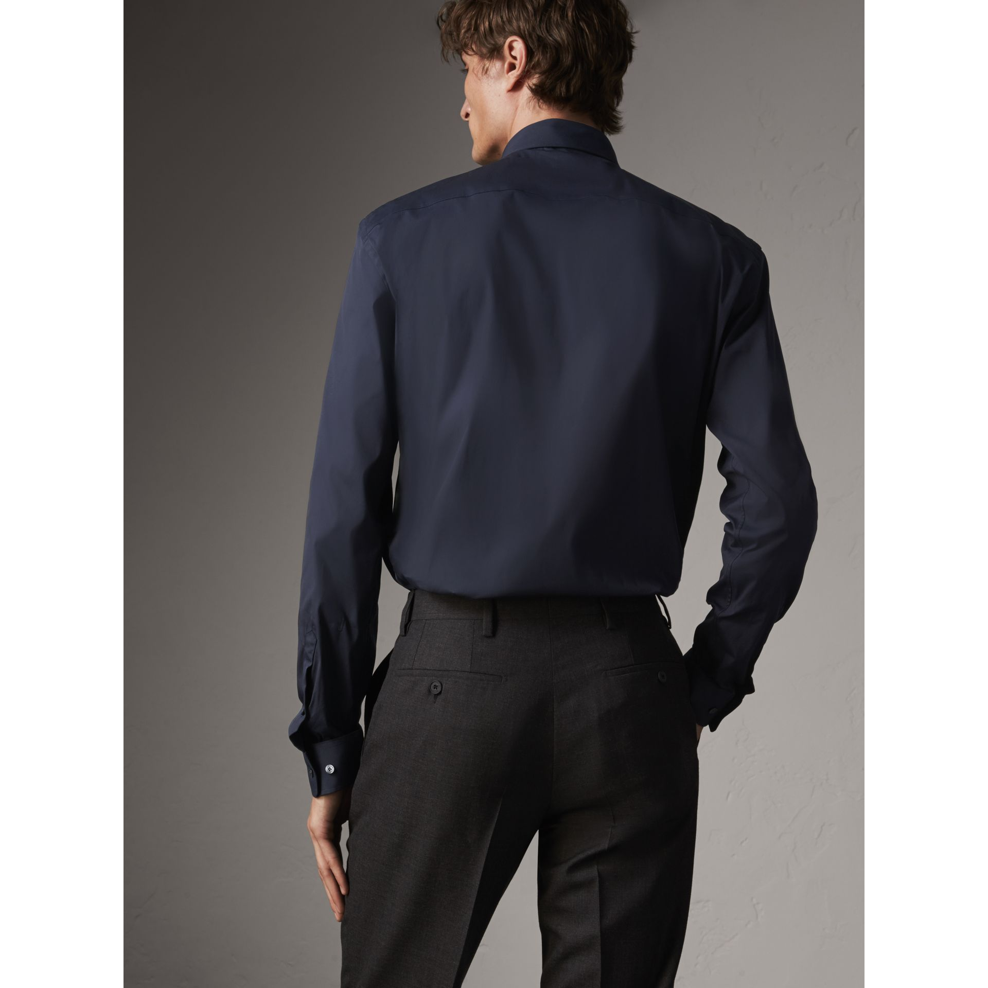 Modern Fit Stretch Cotton Shirt in Navy - Men | Burberry - gallery image 3