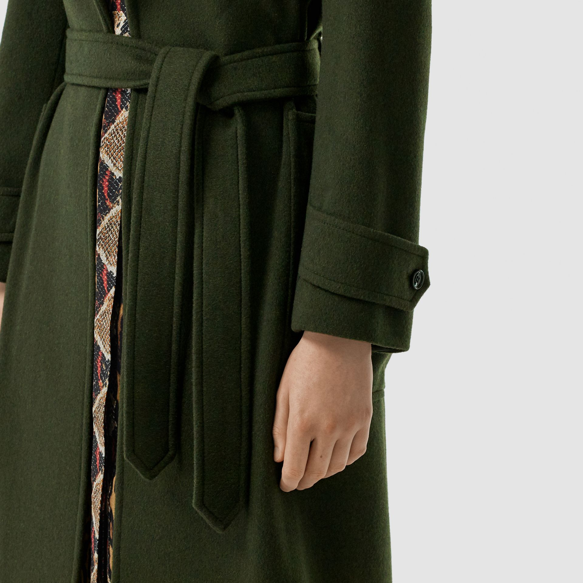 Cashmere Wrap Coat in Forest Green - Women | Burberry - gallery image 4