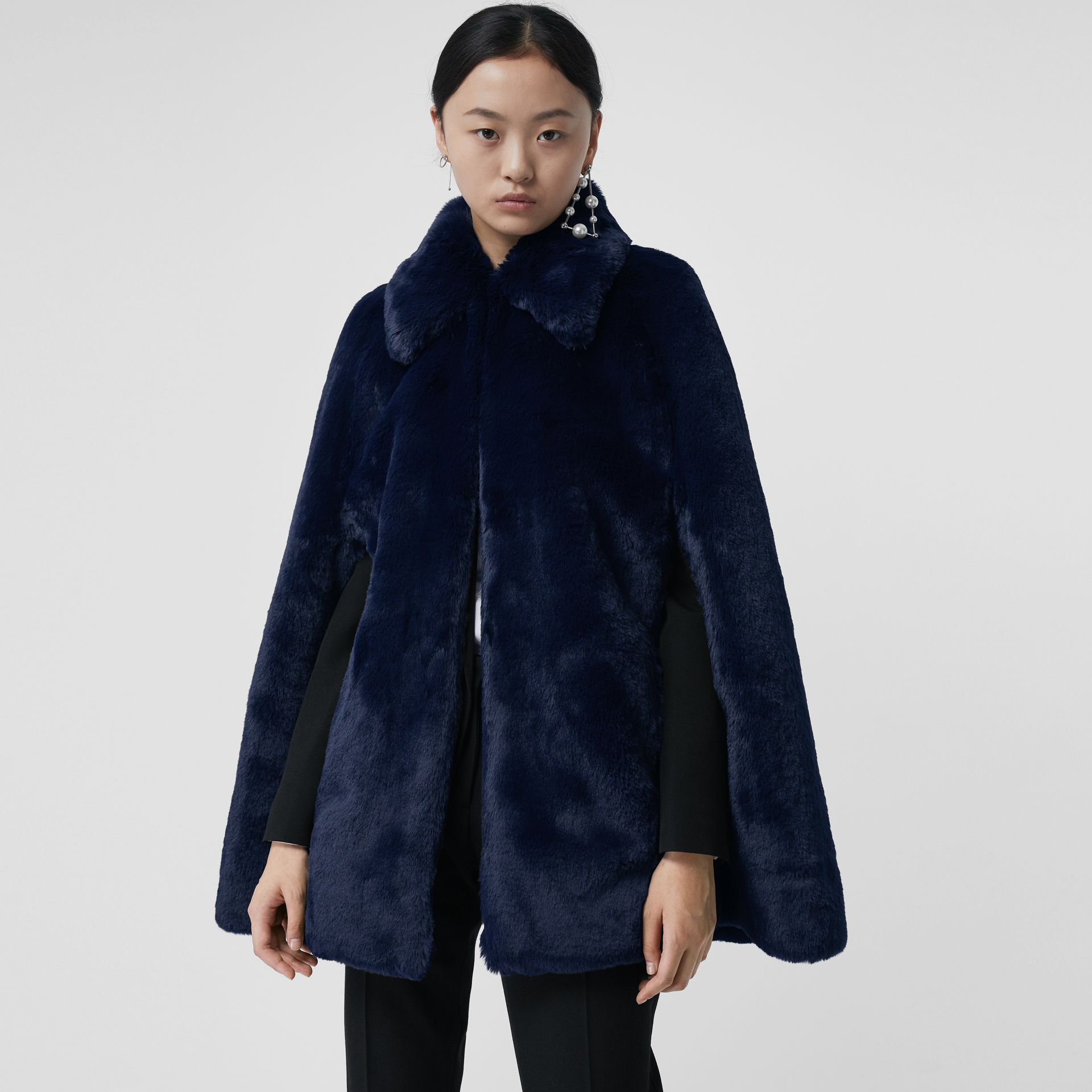 Faux Fur Cape in Navy - Women | Burberry - gallery image 4
