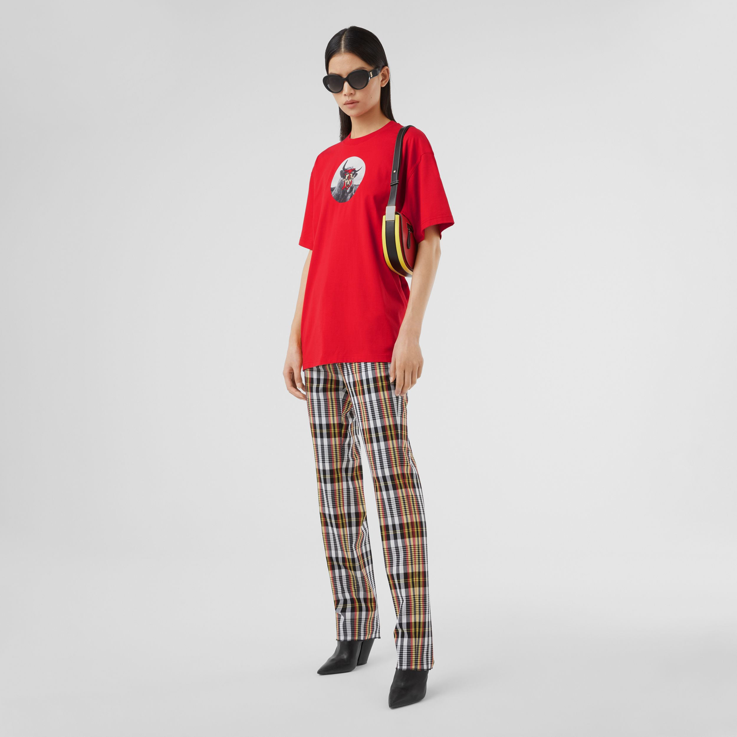 Montage Print Cotton T-shirt – Unisex in Bright Red | Burberry Australia - 4