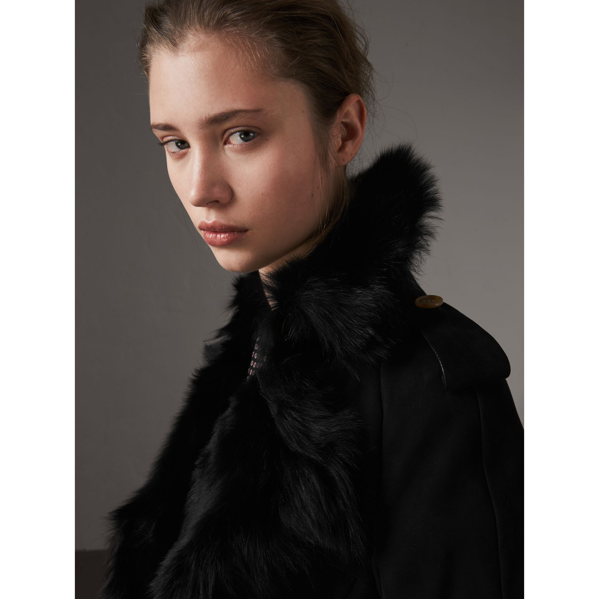 Shearling Trench Coat in Black - Women | Burberry Singapore - gallery image 1