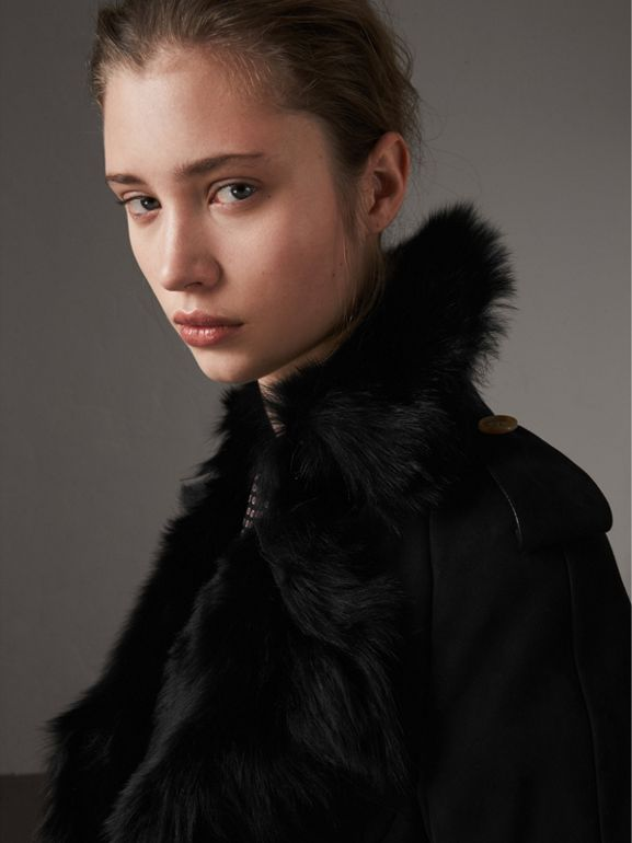Shearling Trench Coat in Black - Women | Burberry United Kingdom - cell image 1