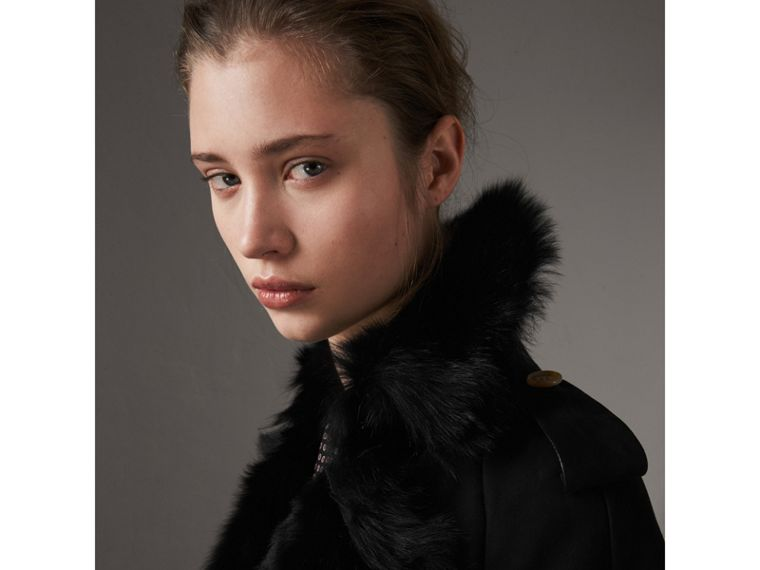 Shearling Trench Coat in Black - Women | Burberry Singapore - cell image 1
