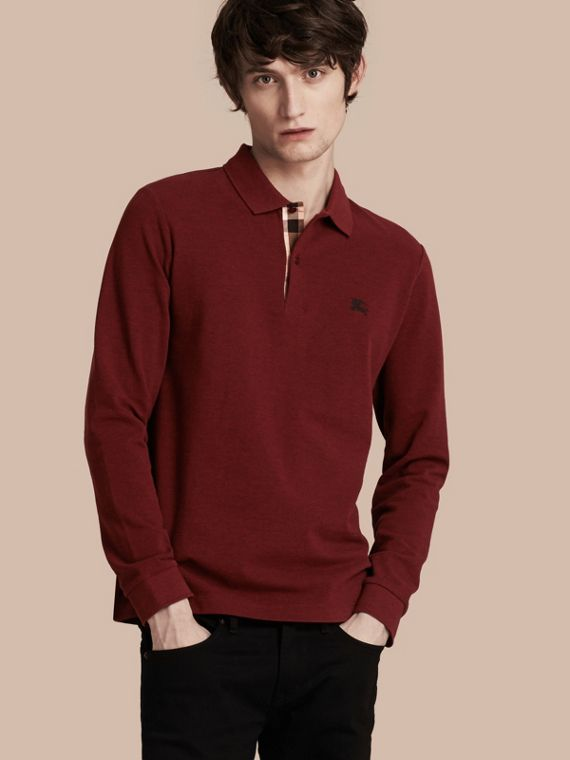 Check Placket Long Sleeve Polo Shirt Parade Red Melange