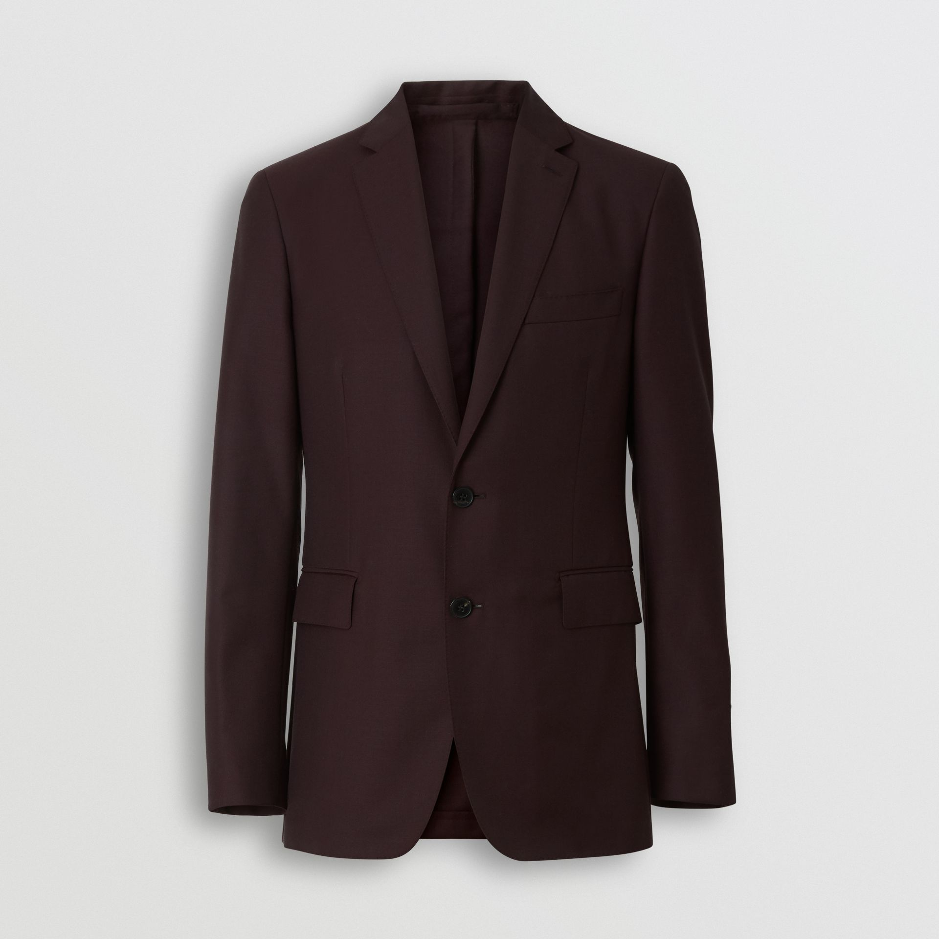 Slim Fit Wool Mohair Silk Suit in Burgundy - Men | Burberry - gallery image 3