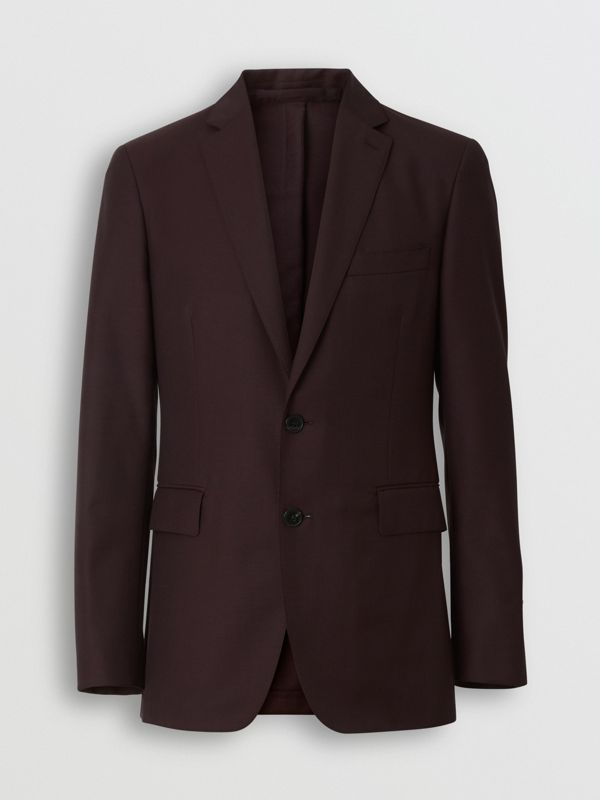 Slim Fit Wool Mohair Silk Suit in Burgundy - Men | Burberry - cell image 3