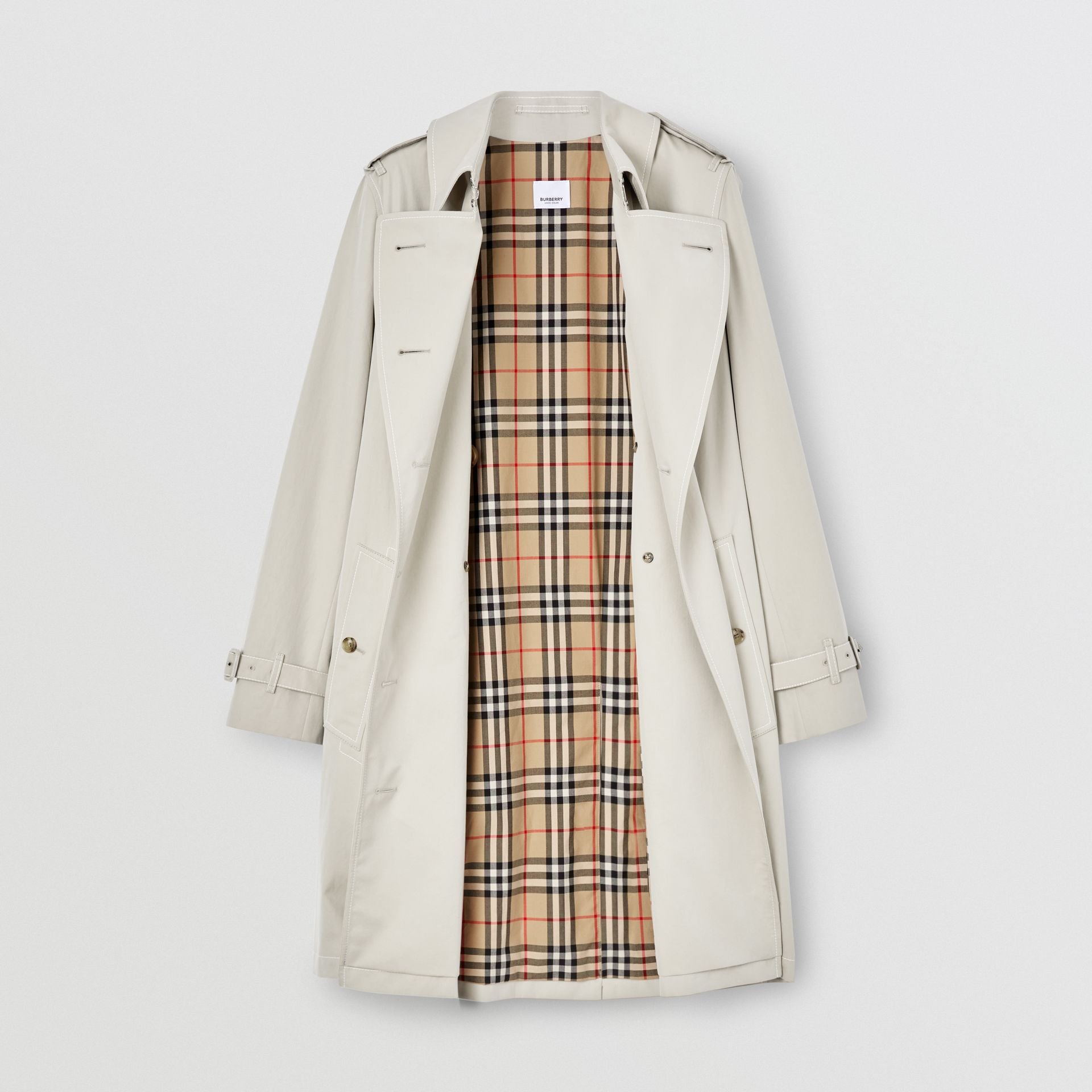 Topstitched Tropical Gabardine Trench Coat in Stone - Women | Burberry Australia - gallery image 6