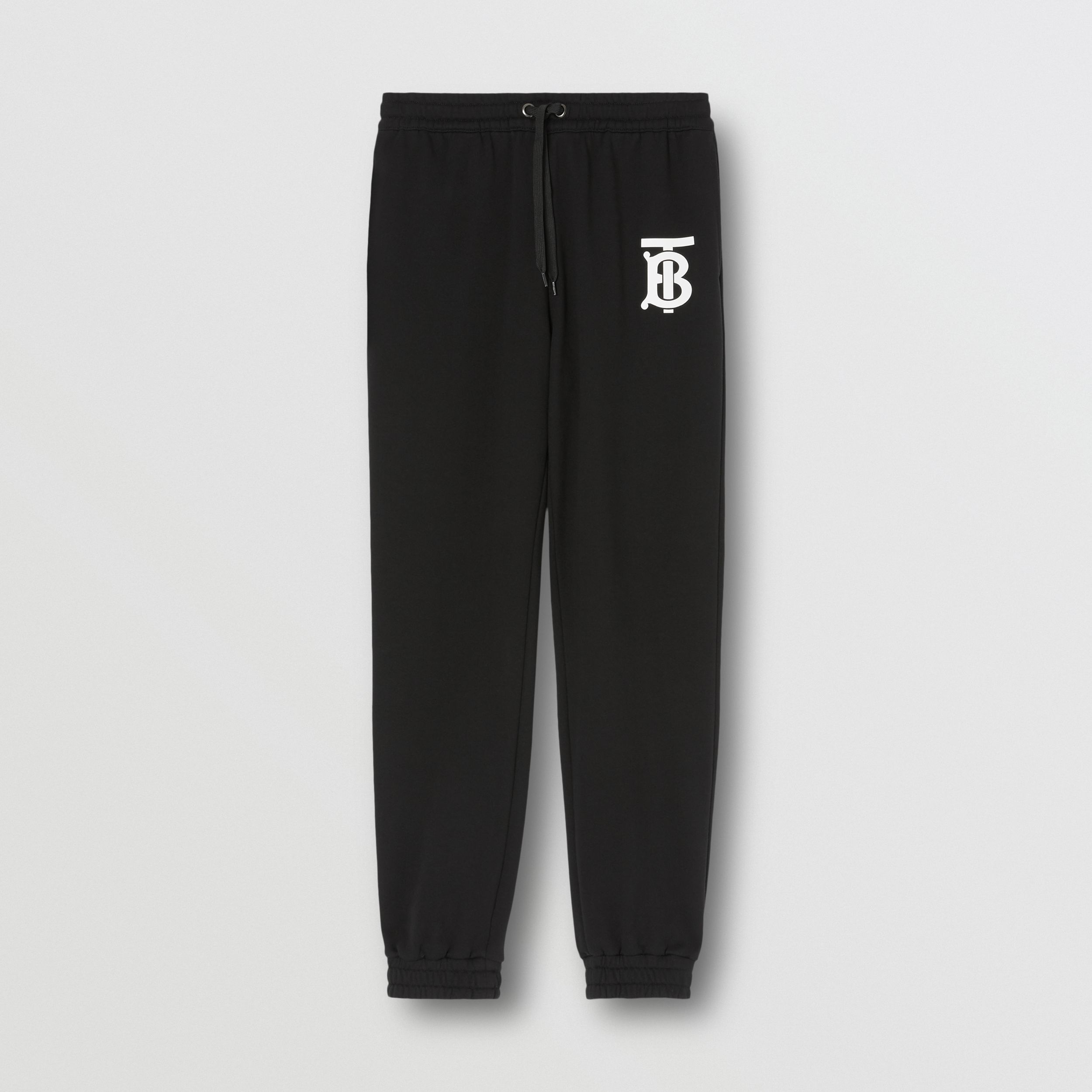 Monogram Motif Cotton Jogging Pants in Black - Men | Burberry Canada - 4