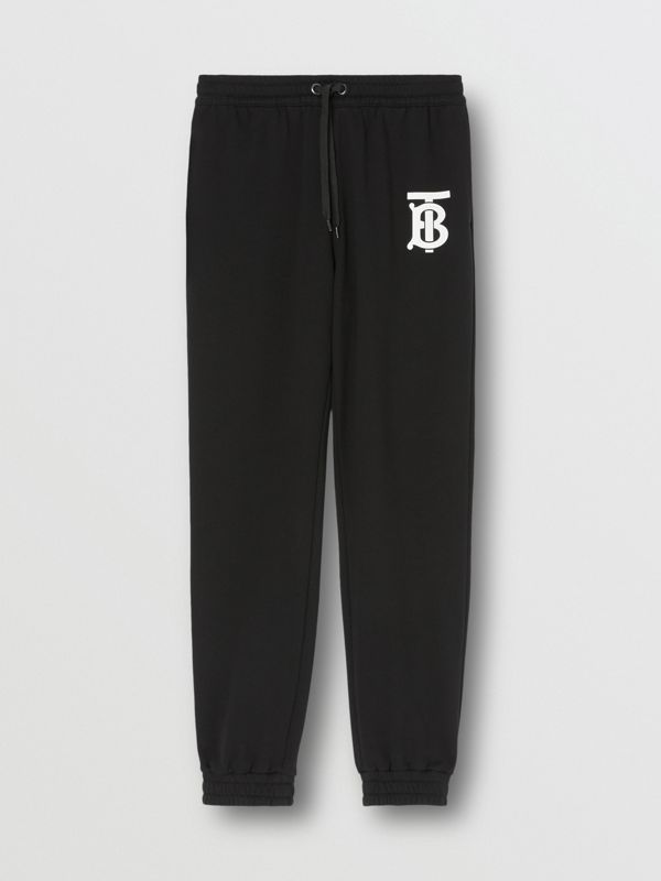 Monogram Motif Cotton Trackpants in Black - Men | Burberry - cell image 3