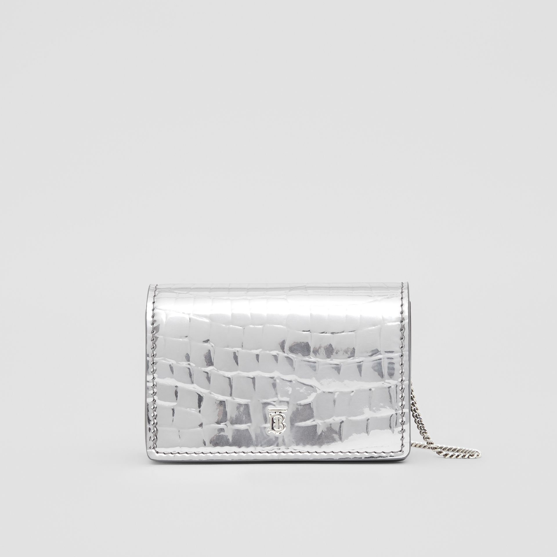 Metallic Embossed Card Case with Detachable Strap in Silver | Burberry United Kingdom - gallery image 0