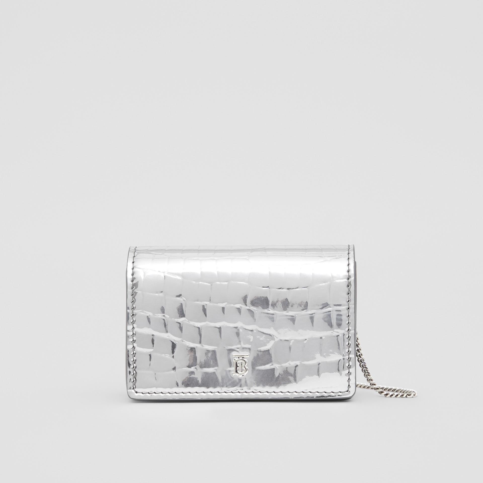 Porte-cartes embossé et métallisé avec sangle amovible (Argent) | Burberry - photo de la galerie 0
