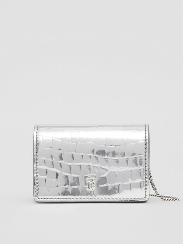 Metallic Embossed Card Case with Detachable Strap in Silver