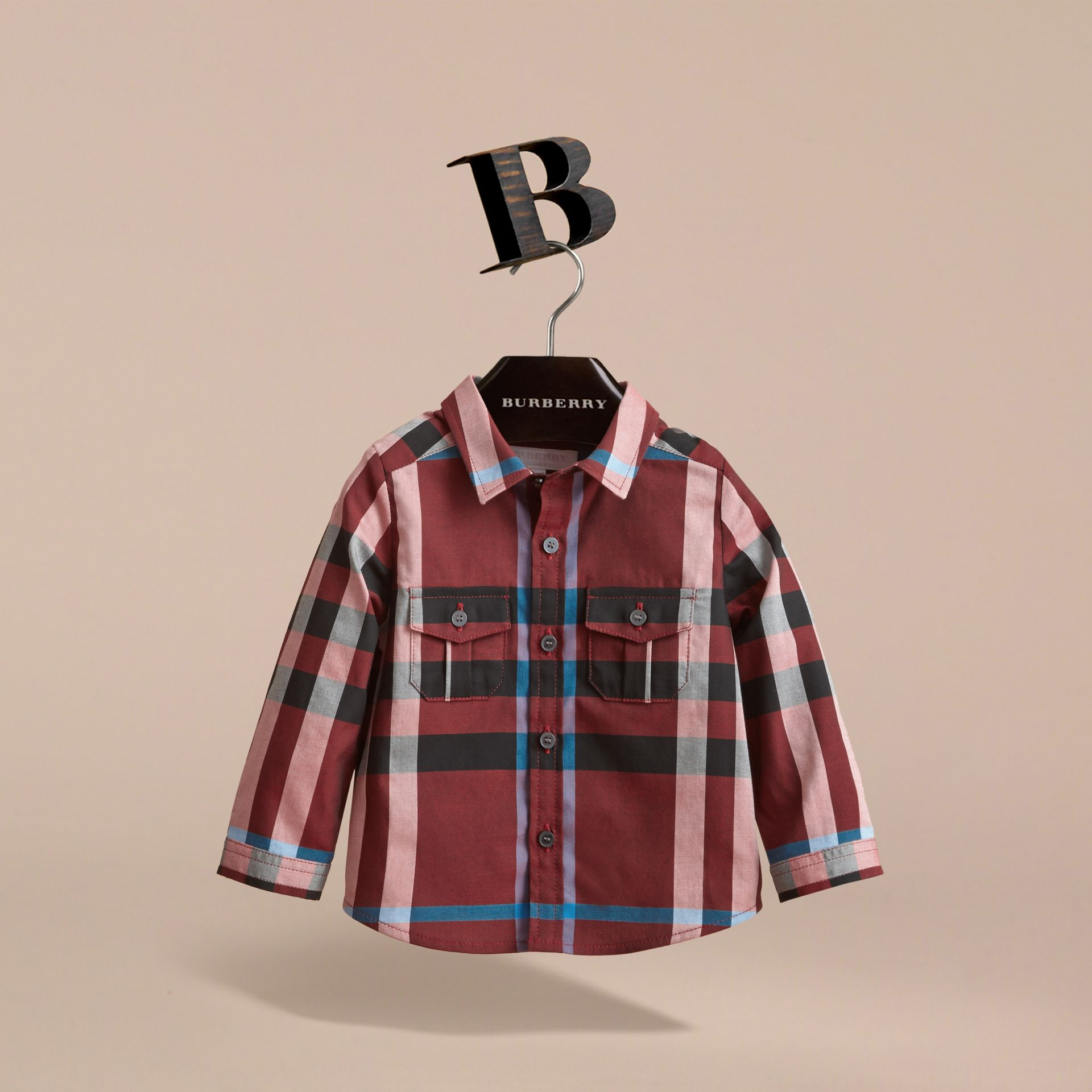 Check Cotton Shirt in Carmine Red | Burberry - gallery image 3